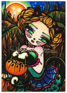 Original Halloween Black Cat ACEO Painting Fantasy Fairy Big Eye Art