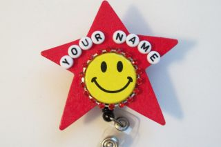 BIG RED HAPPY NURSE RN TEACHER STUDENT STAR RETRACTABLE REEL ID BADGE