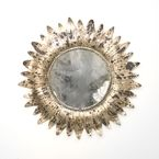 Antiqued Silver Leaf Art Deco Laurel Mirror