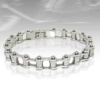 Mens Harley Bike Chain Bracelet 316L Stainless Steel Lifetime Warranty