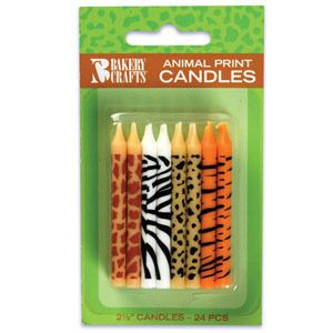 Zoo Animals Jungle Safari Birthday Candles 24ct