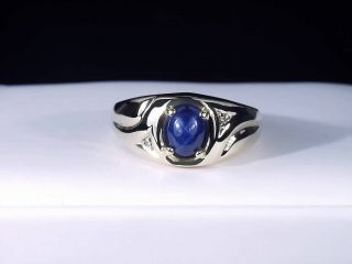 10K Yellow Gold Mens Blue Star Sapphire Diamond Ring Vintage Looks