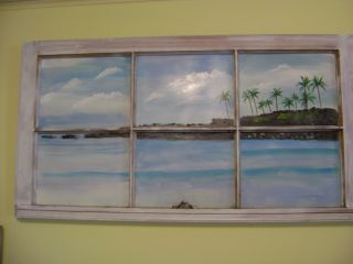 ORIGINAL ACRYLIC PAINTING ON ANTIQUE WINDOW FRAME CALIFORNIA PALM