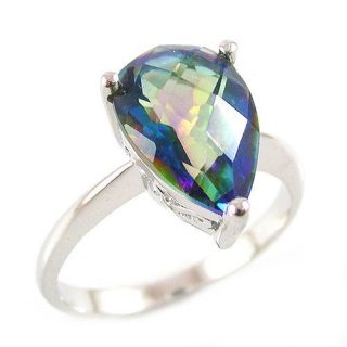 3ct Genuine Rainbow Blue Topaz Ring 925 Sterling Silver Size 6 Pear