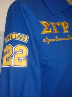 Blue Sigma Gamma Rho Racing Style Emboridered Jacket S