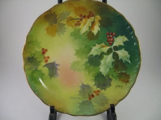 Antique Blakeman & Henderson Limoges Holly Hand Painted Signed 9 Gold