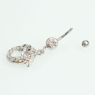 Barbell Colorful Rhinestone Navel Belly Ring Body Jewelry