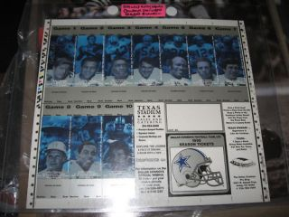 Bob Lilly Dallas Cowboys Signed Season Ticket Blank