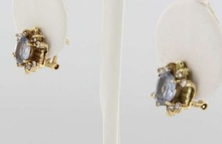 Gold Blue Sapphire Diamond Earrings Estate Used Fine Jewelry