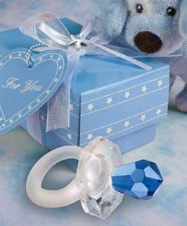 12 Blue Crystal Pacifier Boy Baby Shower Party Favors