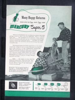 1949 Mercury Super 5 Outboard Boat Motor Magazine Ad Canoe Fishing