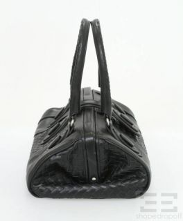 BOTTEGA VENETA Black Leather Intrecciato Trim Doctor Bag
