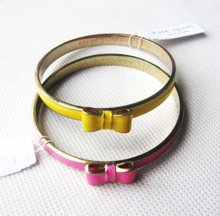 New 12K Yellow and Pink Kate Spade Hinge Bangle Bow Bracelet