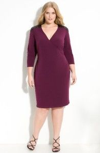 Calvin Klein Purple Sequin Trim Matte Jersey Dress Plus Size 24W