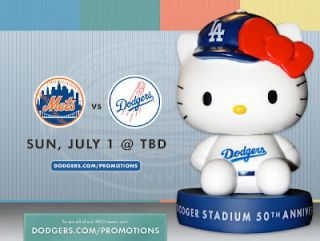 Hello Kitty Sanrio Mini Bobblehead LA Dodgers 50th Anniversary 2012