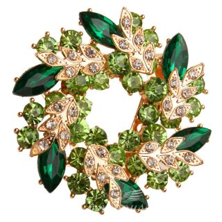 Wedding Bridal Brooch Pin Green Rhinestone Crystal Bauhinia Garland