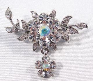 Floral White Austrian Rhinestone Brooch Pin Wedding