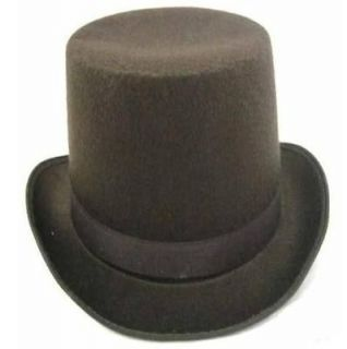 Brown Permalux Coachman Victorian Tall Top Hat Adult Costume Accessory