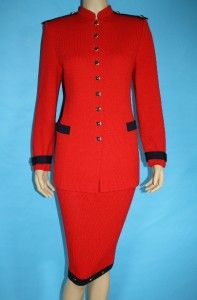 Knit Fitted Red Navy Jacket Skirt 2 PC Suit Gold BTNS M 6 8