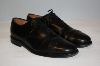 Allen Edmonds Byron Black Cap Toe Balmoral Mens 11 D Great Condition