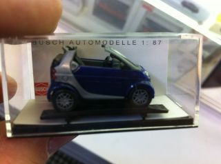 Busch HO Train 1 87 Scale Model Car Smart Cabrio Blue 48970 RARE