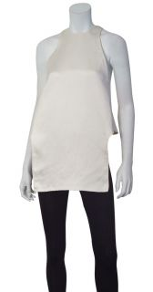 Calvin Klein Collection High Style Ivory Silk Sleeveless Blouse Shirt