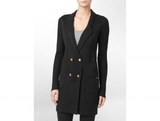 Calvin Klein Womens Double Breasted Sweater Coat