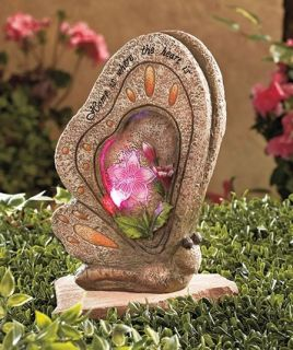 Solar Lighted Color Changing Butterfly Garden Accent Statue NEW