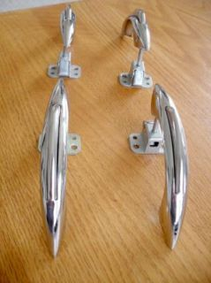 1940s 1950s Chrome Cabinet Door Pulls Catches Push Button
