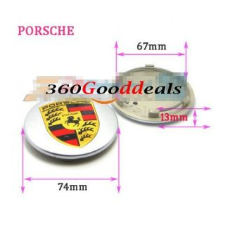 Silver Wheel Hub Center Caps Covers Emblem for Porsche Boxster 911 993