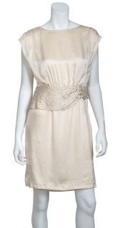 Candela NYC Loose Fit Cap Sleeve Cream Silk Beaded Bloused Eve Dress