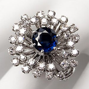 Carat Blue Sapphire Diamond Cocktail Ring Solid 14K White Gold