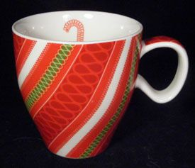 Starbucks Coffee Candy Cane Red Green White Striped Mug
