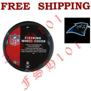 Brand New Simulated Leather Carolina Panthers Steering Wheel Cover For