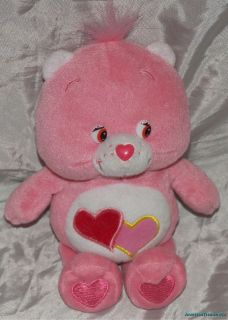 2002 Plush 9 Care Bears Pink Love A Lot Care Bear Twin Hearts Belly
