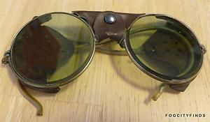 Vintage American Optical Steampunk Goggles ~ Leather Shield #2