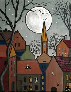 OF PAINTING 4X6 RYTA HOUSES ABSTRACT FOLK ART BLACK CAT TREES HOUSES