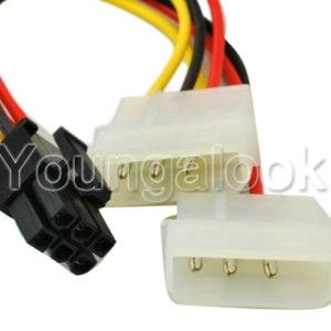 IDE 4 Pin to PCI E 6 Pin VGA Card Power Cable Adapter
