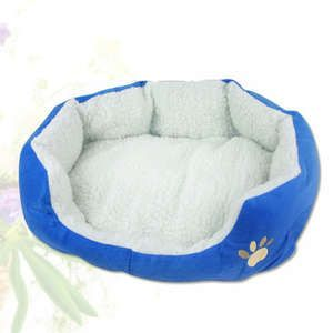 Blue Hot Sale Pet Puppy Dog Cat Beds House Lamb Flocking Soft