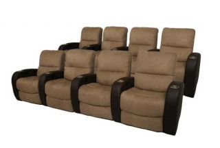 Seatcraft Catalina Home Theater Seating 8 Seats Manual Brown on Brown
