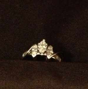 and White Gold Diamond Engagement Ring 3 Marquise Cut Center Diamond