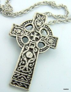 Pewter Center Celtic Cross Irish Medal Pendant Necklace