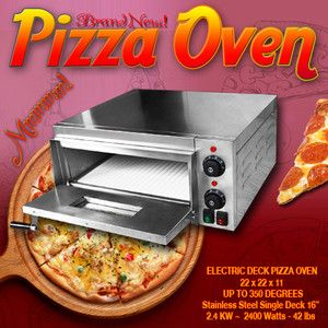 Single 16 Electric Pizza Oven Ceramic Stone Deck 220V Commercial Home