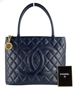 CHANEL Dark Navy Blue Caviar Leather Gold Medallion Tote Handbag