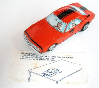 RARE 1967 Chevrolet Camaro SS Race 7 BumpN Go Taiyo Japan Battery Toy