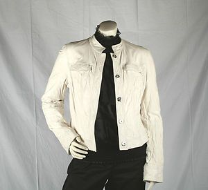 Womens Charles Nolan Soft White Leather Jacket XL