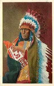 Tall Man Dan Sioux Indian Headdress Native American mailed 1909 K11209