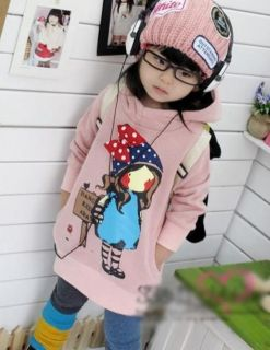 Children Kids Toddlers Outfits Sweet Girls Pink Cartoon Hoodies Size 3