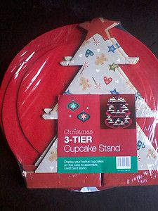 CHRISTMAS 3 TIER CUPCAKE CAKE STAND CARDBOARD DISPOSABLE CAKE STAND