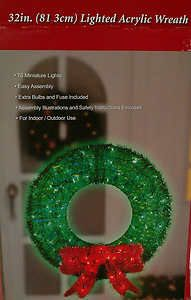 Artificial Lighted Acrylic Christmas Wreath